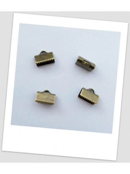 """Зажим для лент """"крокодильчик"""", цвет бронза, 10 х 8 мм. Упаковка - 10 шт. (id:260007)"""