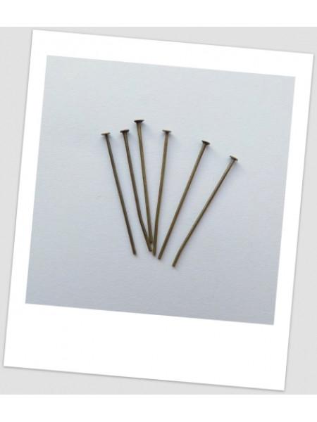 Гвоздик ювелирный в бронзовом цвете, 30 мм х 0,7 мм. Упаковка - 50 шт. (id:610007)