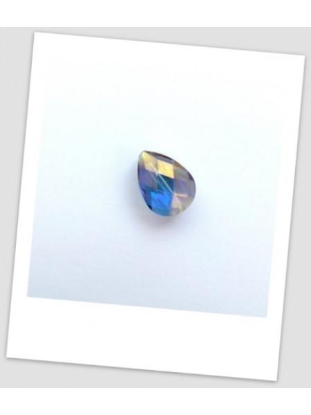Бусина стеклянная граненая, миндалевидной формы, голубая с фиолетовым отливом, 18 х 13 мм. Упаковка -10 шт. (id:160035)