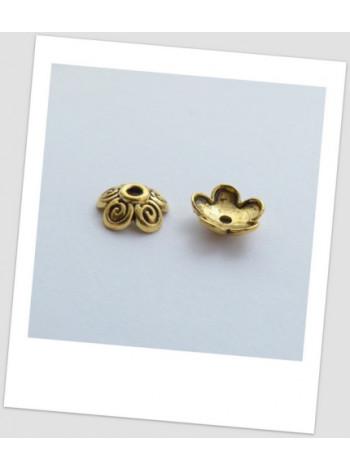 Шапочка для бусины металлическая, цвет: античное золото 10 мм. Упаковка - 30 шт.