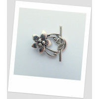 "Замочек-тогл ""цветок"" металлический, цвет: античное серебро 30 х 20 мм.  (id:410015)"