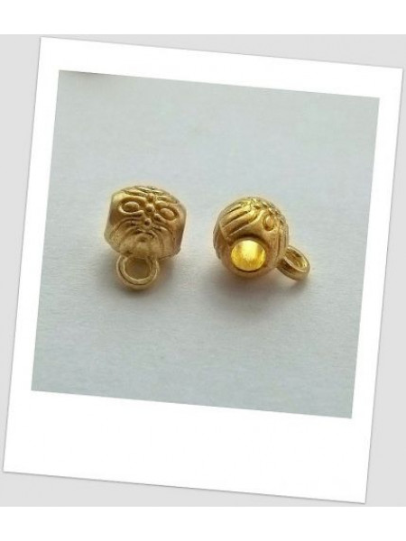 Бейл-бочёнок золотой металлический с узором 6мм х 6мм, упаковка - 3 шт. (id:250004)