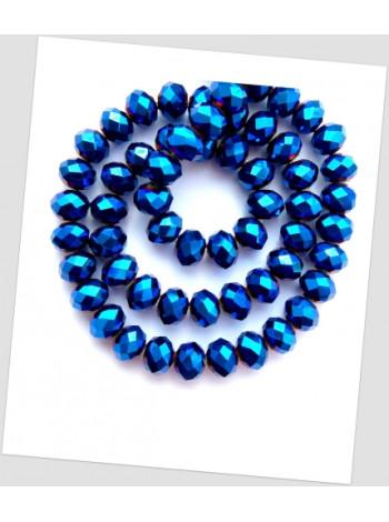 Бусина хрустальная граненая приплюснутая синяя 12 мм. Упаковка -20 шт.