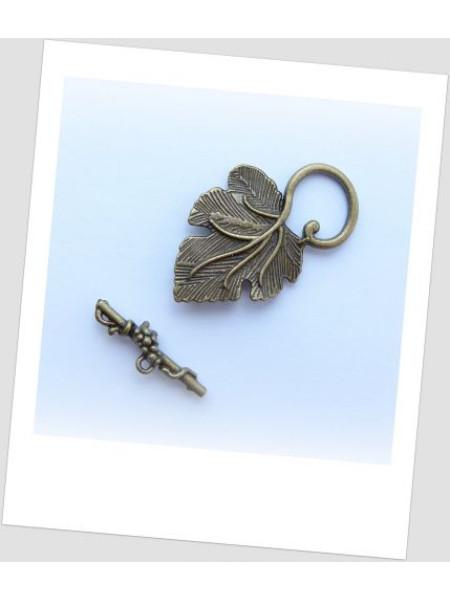 Замочек-тогл в форме листика, цвет бронзовый. Упаковка - 3 шт. (id:410001)