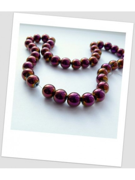 Бусина из гематита немагнитная фиолетовая 10 мм (id:100101)