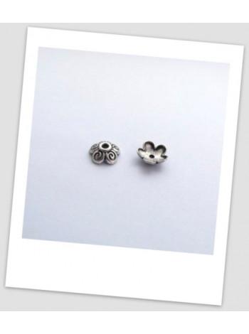 Шапочка для бусины металлическая, цвет: античное серебро, 10 мм, упаковка - 30 шт.
