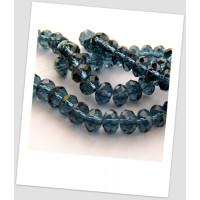 Бусина дымчато-синяя хрустальная граненная приплюснутая 8 мм х 5 мм. Упаковка - 22 шт. (id:160004)