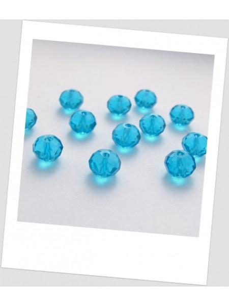 Бусина хрустальная граненая приплюснутая, голубая, 8 мм х 6 мм. Упаковка - 18 шт. (id:160028)