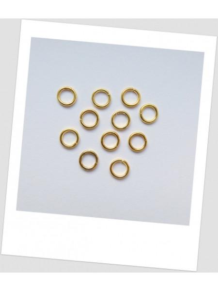 Соединительное колечко металлическое одинарное золото 8 мм, толщина 1мм. Упаковка - 100 шт. (id:670004)