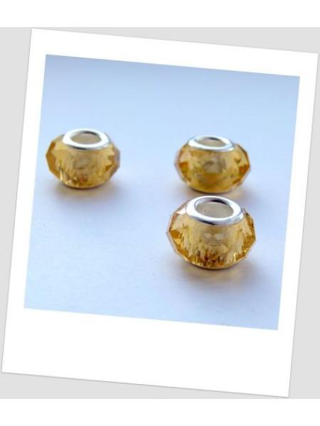 "Бусина стеклянная ""Пандора"" граненая желтая, упаковка - 4 шт. (id:110009)"