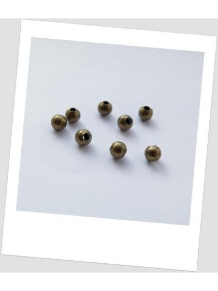 Бусина-разделитель металлическая бронза 4 мм, упаковка -30 шт. (id:140014)