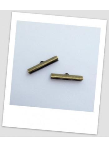 "Зажим для ленты металлический ""крокодильчик"", бронза, 35 мм х 7,5 мм. Упаковка - 259 шт!"