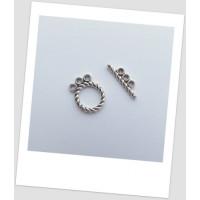Замочек-тогл металлический, три петельки, античное серебро, 16 х 12 мм, упаковка - 3 шт. (id:410016)