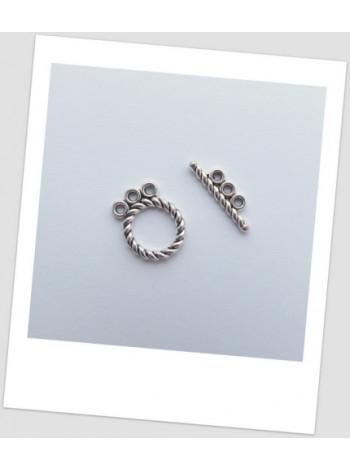 Замочек-тогл металлический, три петельки, античное серебро, 16 х 12 мм, упаковка - 3 шт.