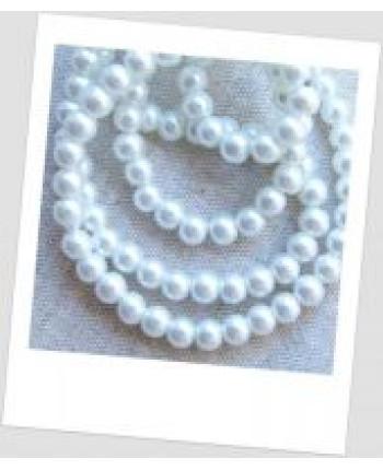 Бусина керамический жемчуг белый 6 мм (id:130003), упаковка - 30 шт.