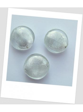 Бусина стеклянная лэмпворк белая полупрозрачная 26 мм, упаковка - 8 шт.