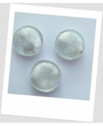 Бусина стеклянная лэмпворк белая полупрозрачная 26 мм, упаковка - 8 шт. (id:150013)