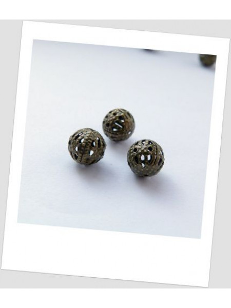 Бусина ажурная металлическая бронзовая 8мм х 8мм. Упаковка - 30 шт. (id:140010)