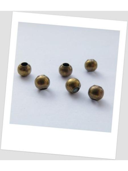 Бусина-разделитель металлическая бронза 6 мм х 6 мм. Упаковка - 20 шт. (id:140015)