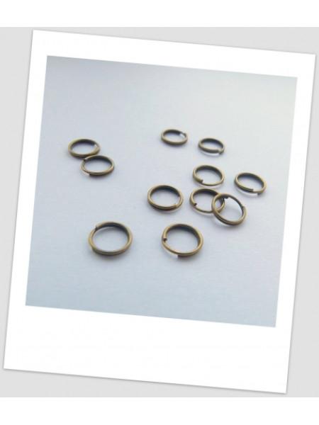 Колечко соединительное, два витка, бронза, 7 мм, упаковка - 50 шт. (id:670007)