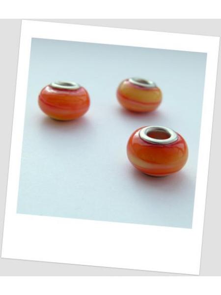 """Бусина стеклянная """"Пандора"""" оранжевая с разводами, упаковка - 4 шт. (id:110007)"""