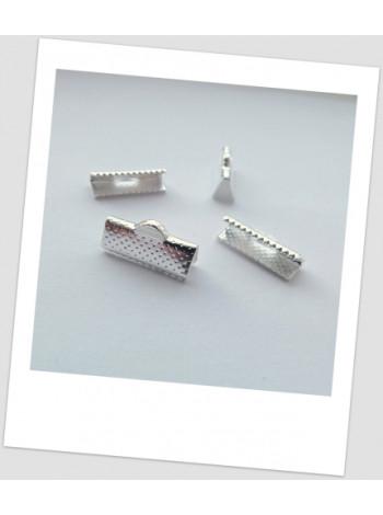 Зажим для шнуров/лент металлический, цвет: серебро, 16 х 7 мм. , упаковка- 20 шт.