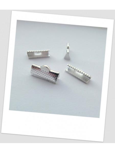 Зажим для шнуров/лент металлический, цвет: серебро, 16 х 7 мм. , упаковка- 20 шт.(id:260006)