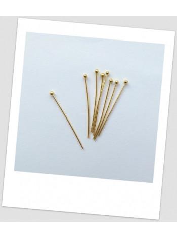 Пин ювелирный металлический золотого цвета, 30 мм х 0,7 мм. Упаковка - 100 шт.