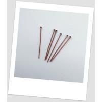 Гвоздик ювелирный, медный, 40 мм х 0,9 мм Упаковка - 50 шт (id:610006)