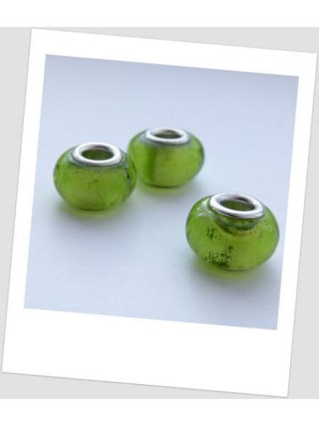 """Бусина стеклянная """"Пандора"""" зеленая с фольгированием, упаковка - 4 шт. (id:110002)"""