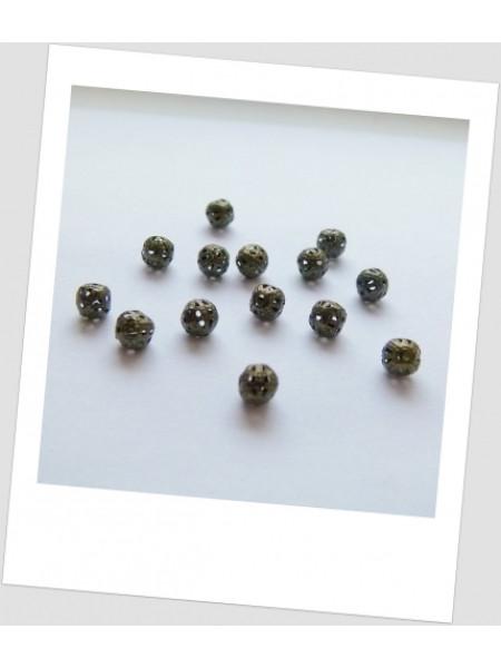 Бусина металлическая ажурная бронза 6 мм. Упаковка - 50 шт. (id:140022)