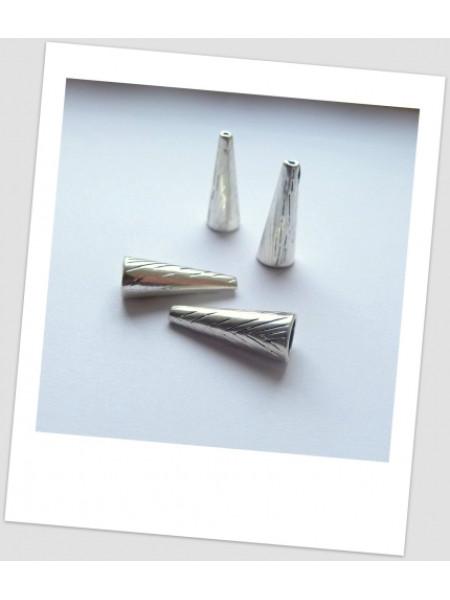 Концевик бижутерный металлический с узором серебряного цвета 28 мм. Цена за упаковку - 4 шт.  (id:270011)