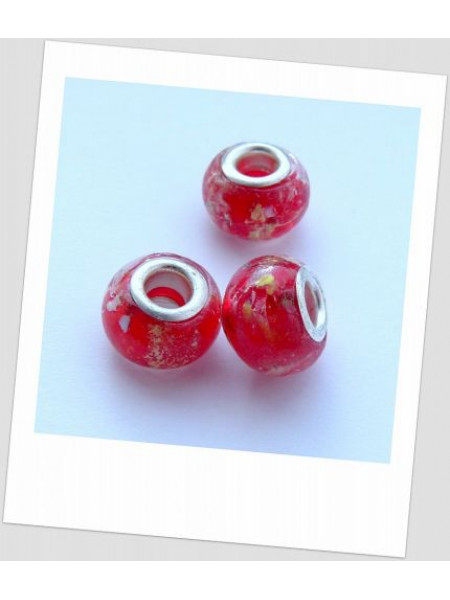 "Бусина стеклянная ""Пандора"" красная, упаковка - 3 шт. (id:110001)"