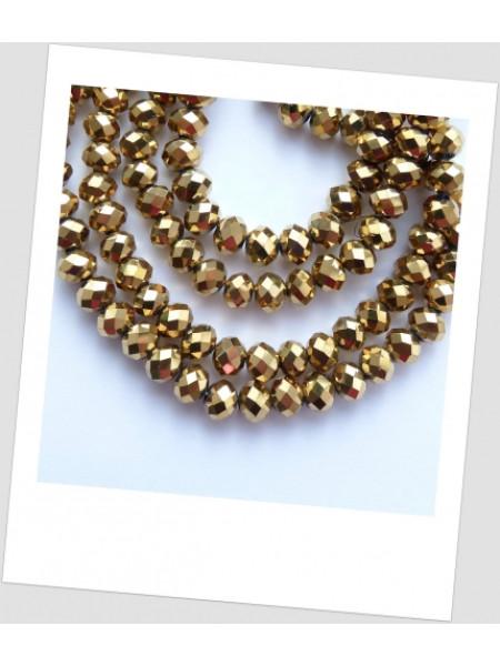 Бусина хрустальная граненая золотая приплюснутая 6 мм х 4,5 мм. Упаковка - 50 шт. (id:160019)