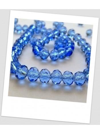 Бусина синяя хрустальная граненая приплюснутая 8 мм х 6 мм. Упаковка - 32 шт.