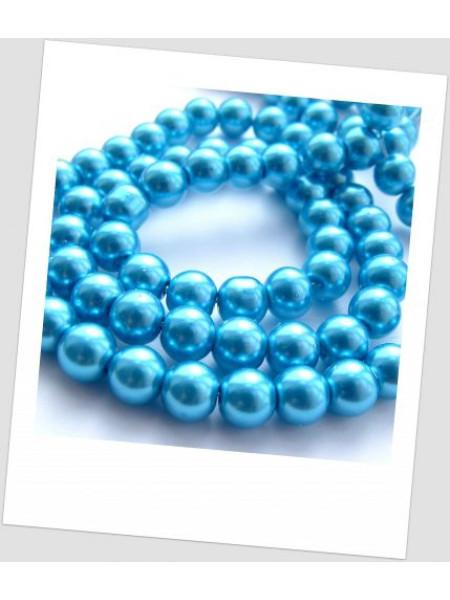 Бусина стекло голубой 8 мм (id:130014), упаковка - 30 шт.