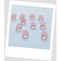 Бусина-рондель хрустальная граненая приплюснутая розовая, 6 мм х 4,5 мм. Упаковка -50 шт. (id:160026)