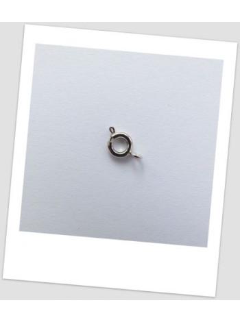 Замочек ювелирный круглый металлический стального цвета 6  мм х 6 мм, упаковка - 10 шт.