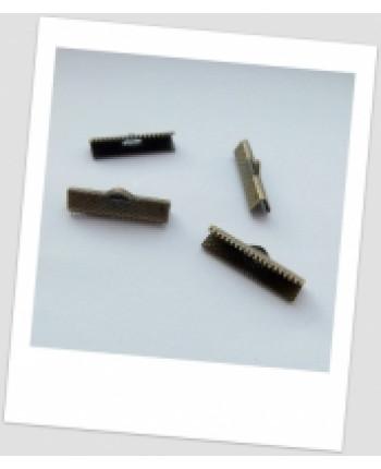 Концевик-зажим металлический, бронзового цвета, 25 х 8 мм. Упаковка - 20 шт. (id:260009)