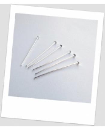 Гвоздик металлический ювелирный, серебряный тон, 30 мм.,  упаковка - 30 шт. (id:610004)
