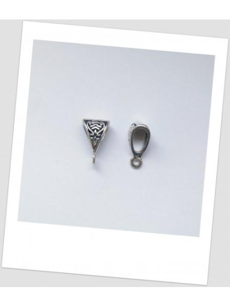 Бейл металлический с узором, цвет: стальной, 15 мм х 9 мм, упаковка - 10 шт.  (id:250014)