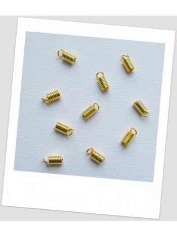 Концевик-пружина для шнура, цвет - золотой, 4 мм х 8 мм. Упаковка - 50 шт.
