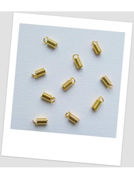 Концевик-пружина для шнура, цвет - золотой, 4 мм х 8 мм. Упаковка - 50 шт. (id:270068)
