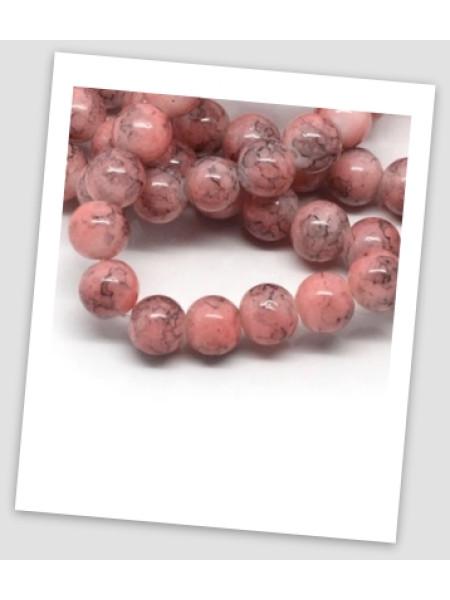 """Бусина стеклянная """"мраморная"""" розовая, 8 мм (id:150026), , упаковка - 30 шт."""