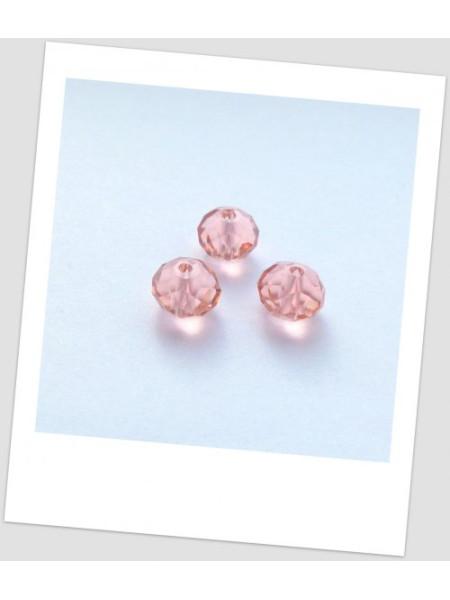 Бусина хрустальная граненая, форма рондель, цвет розовый, 8 х 6 мм. Упаковка - 50 шт. (id:160064)