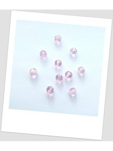 Бусина - хрустальная граненая, круглой формы, цвет нежно-розовый, 6 мм. Упаковка -50 шт. (id:160070)
