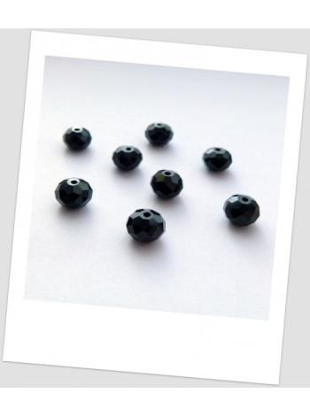 Бусина - рондель хрустальная граненая, цвет чёрный, 6 мм х 4 мм. Упаковка - 30 шт.