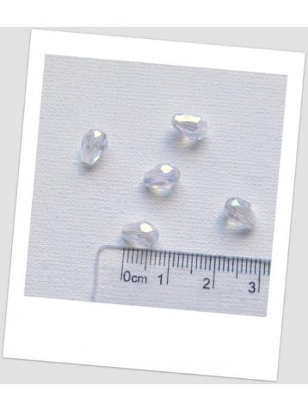 """Бусина стеклянная граненая АБ в форме """"груша"""", прозрачная с отблеском, 7х5 мм. Упаковка - 20 шт. (id:160075)"""