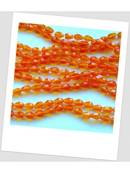 """Бусина стеклянная граненая в форме """"груша"""", апельсинового цвета, 7х5 мм. Упаковка - 20 шт. (id:160087)"""