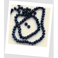 Бусина - рондель хрустальная граненая чёрнеая 6 мм х 4 мм. Упаковка - 50 шт. (id:160102)